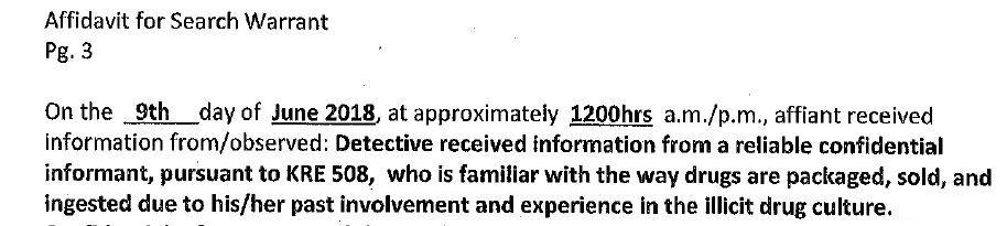 Excerpt from affidavit for raid on Matthew Brinson's house