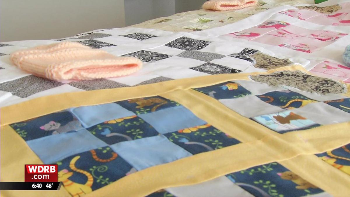 Atria residents donate 30 handmade blankets to Clark Memorial NICU