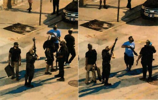 Surveillance images allegedly showing John Johnson (Grandmaster Jay) pointing rifle at officers.