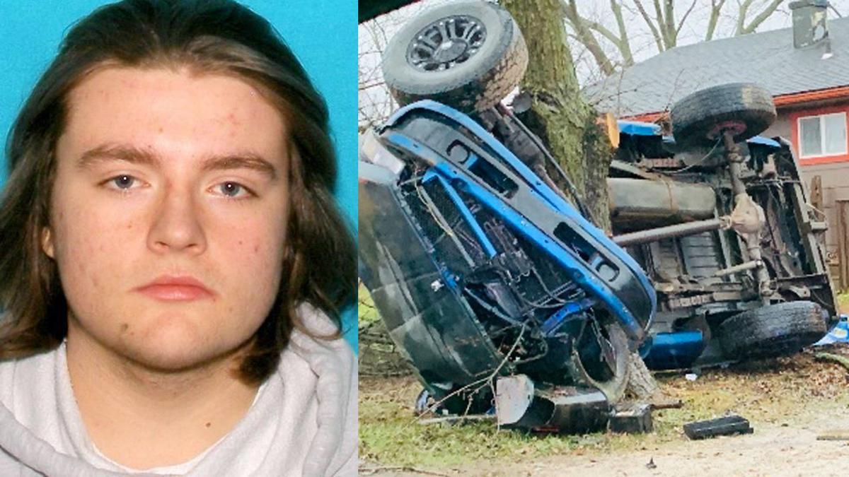 Ian Wilson and scene of alleged DUI crash (Nov. 30, 2019)