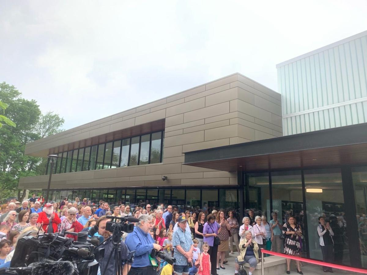 Crowd gathers at St. Matthews Eline Library grand reopening