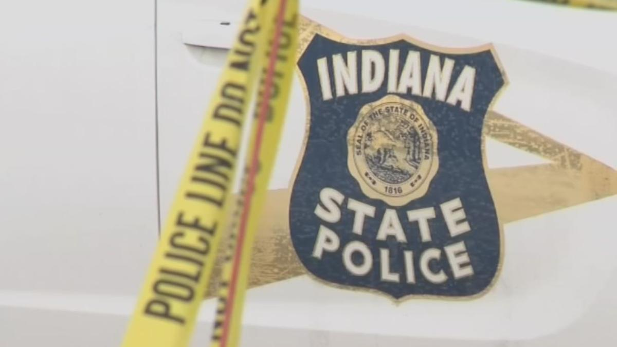 Indiana State Police car with crime tape