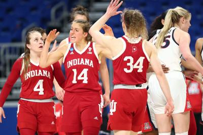 Indiana's Nicole Cardano-Hillary, Ali Patberg and Grace Berger