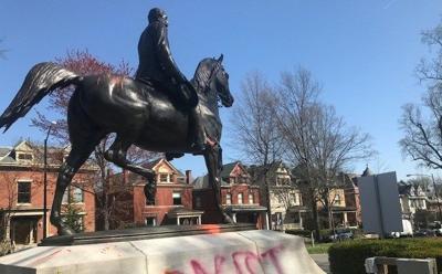 Castleman statue vandalized again- 4-12-18
