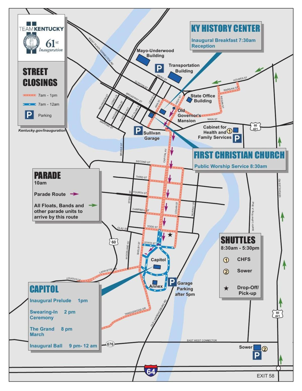 Parade route for Inauguration of Gov. Andy Beshear