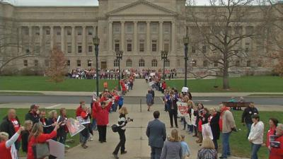 Kentucky teachers protest pension bill outside the state Capitol