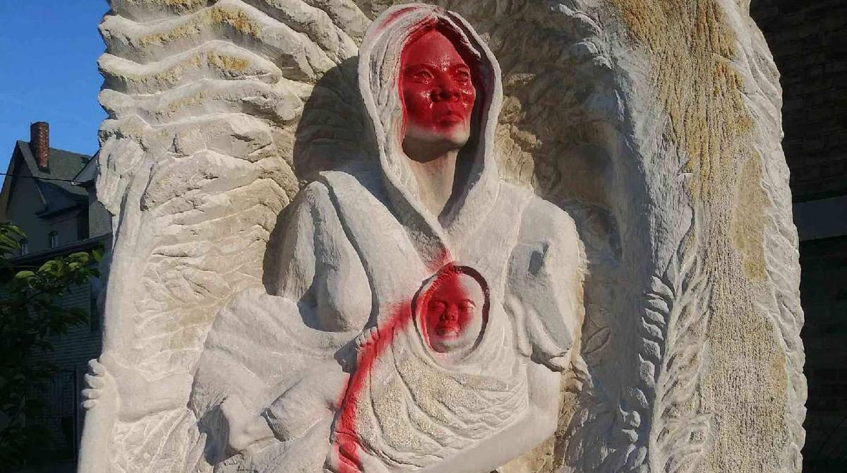 Statue of Lucy Higgs Nichols vandalized, July 3, 2020