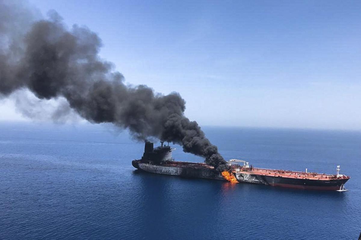 US Oil Tanker on Fire via AP