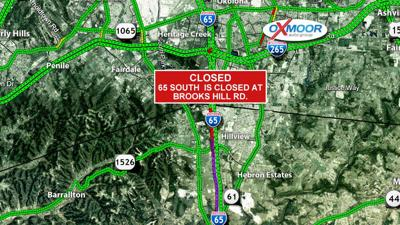I-65 South closed in Bullitt County