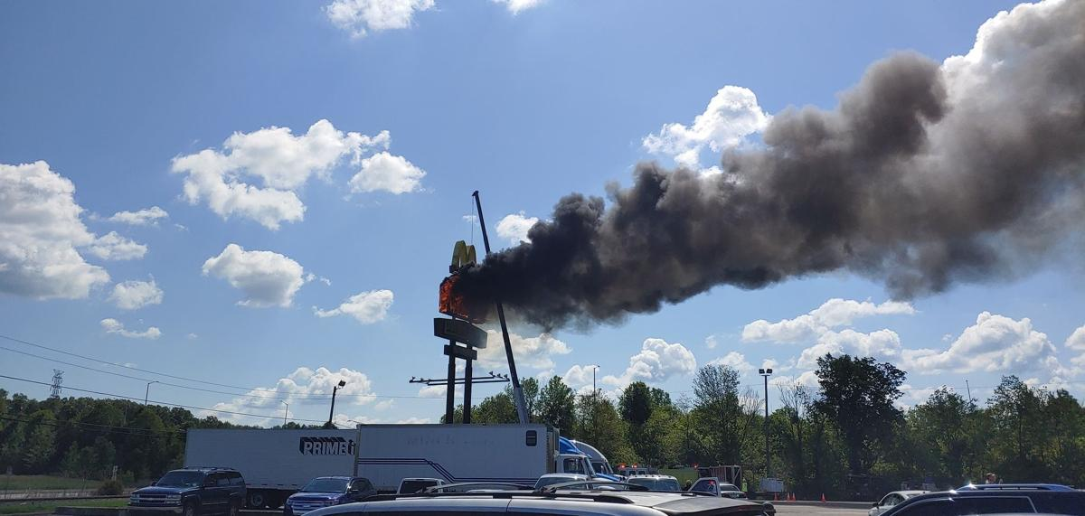 Pilot gas station sign on fire