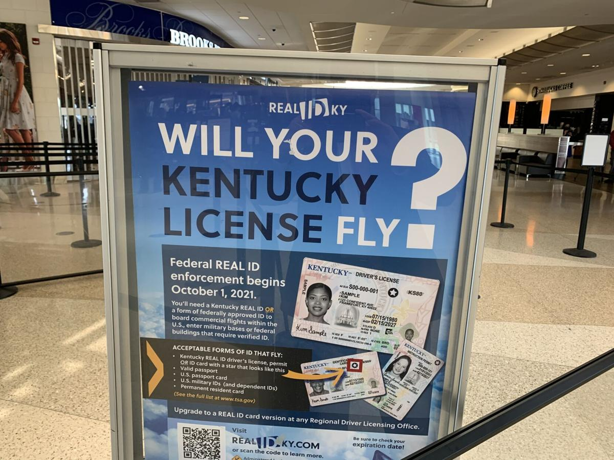 REAL ID sign at Louisville airport