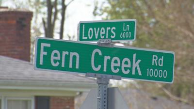 Lovers Lane and Fren Creek Road intersection sign