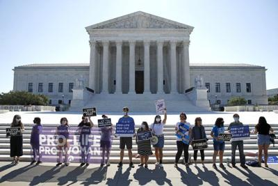 Anti-abortion protesters wait outside Supreme Court - 6-29-20
