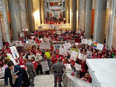 Thousands of Ky. teachers voice their displeasure with pension reform bill by marching on Capitol