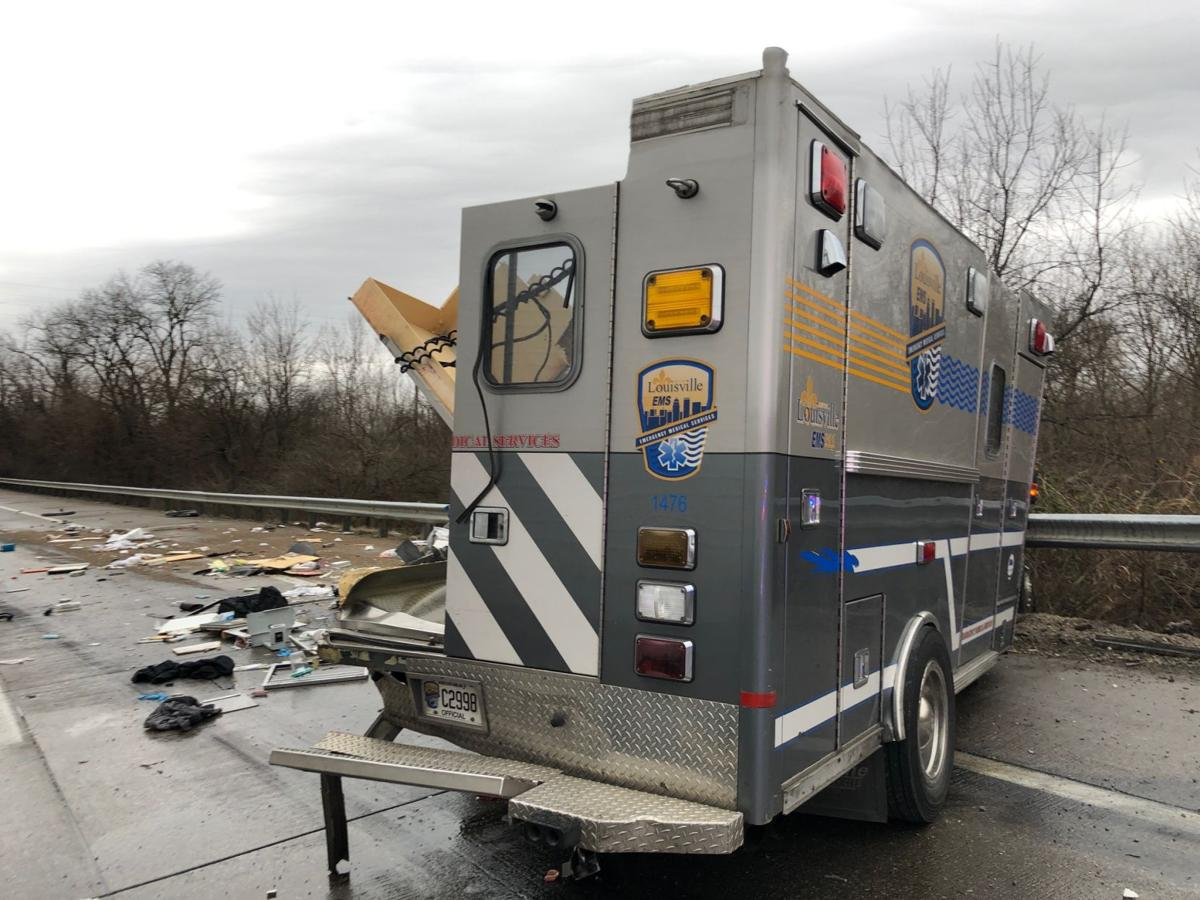 Ambulance at I-264 crash scene 1-7-19