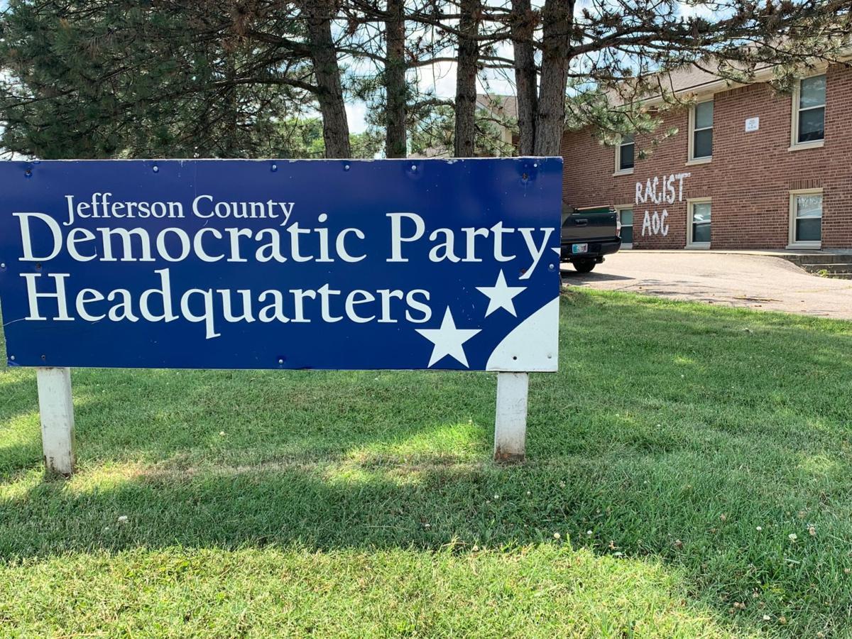 Jefferson County Democratic Party HQ sign + graffiti