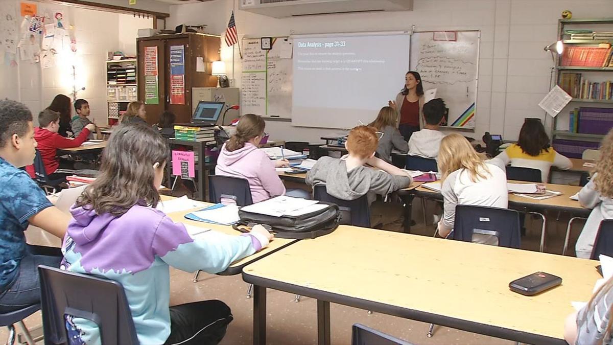 Students and teacher in school classroom (generic)