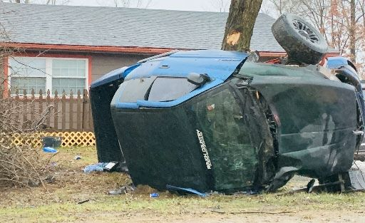 Scene of alleged DUI crash on Nov. 30, 2019 in Terre Haute (Driver:  Ian Wilson)