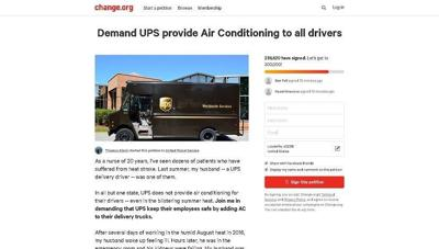 Online petition asks UPS to add air conditioning to delivery trucks