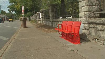 Old Cardinal Stadium bus stop seating