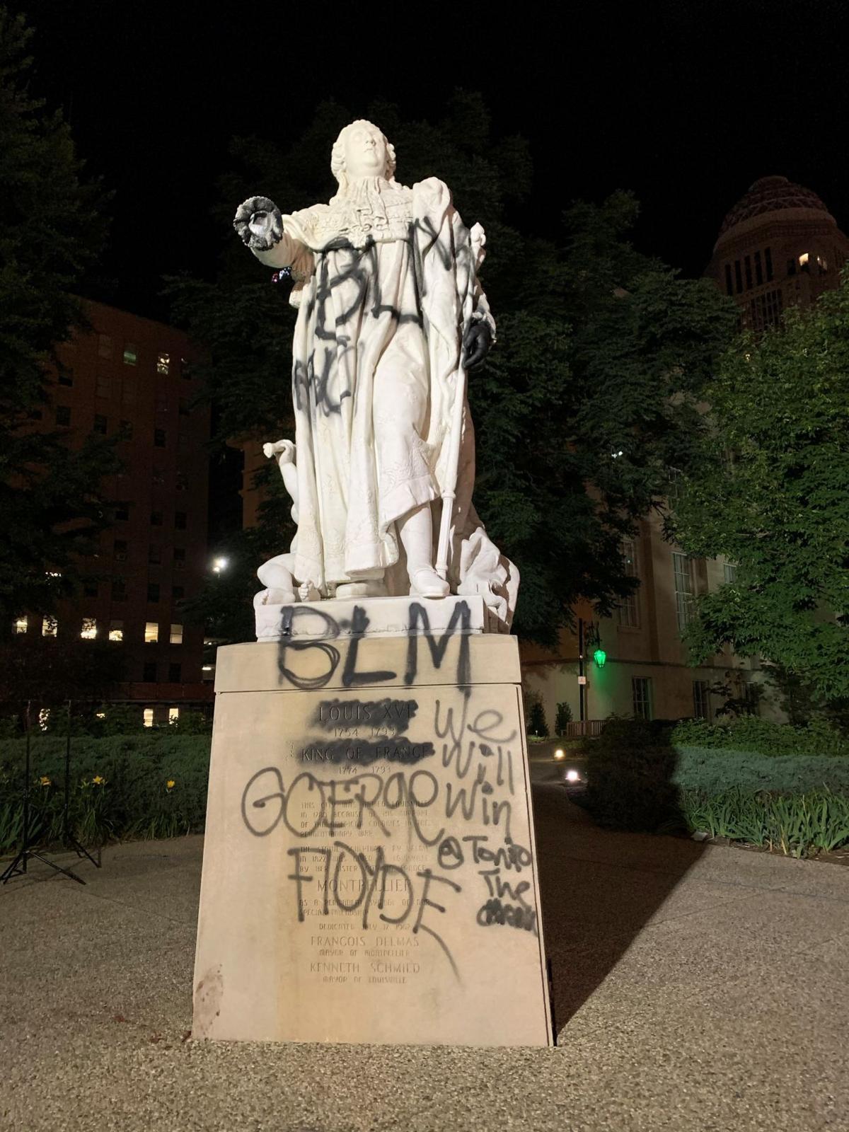 King Louis statue vandalized (June 12, 2020)