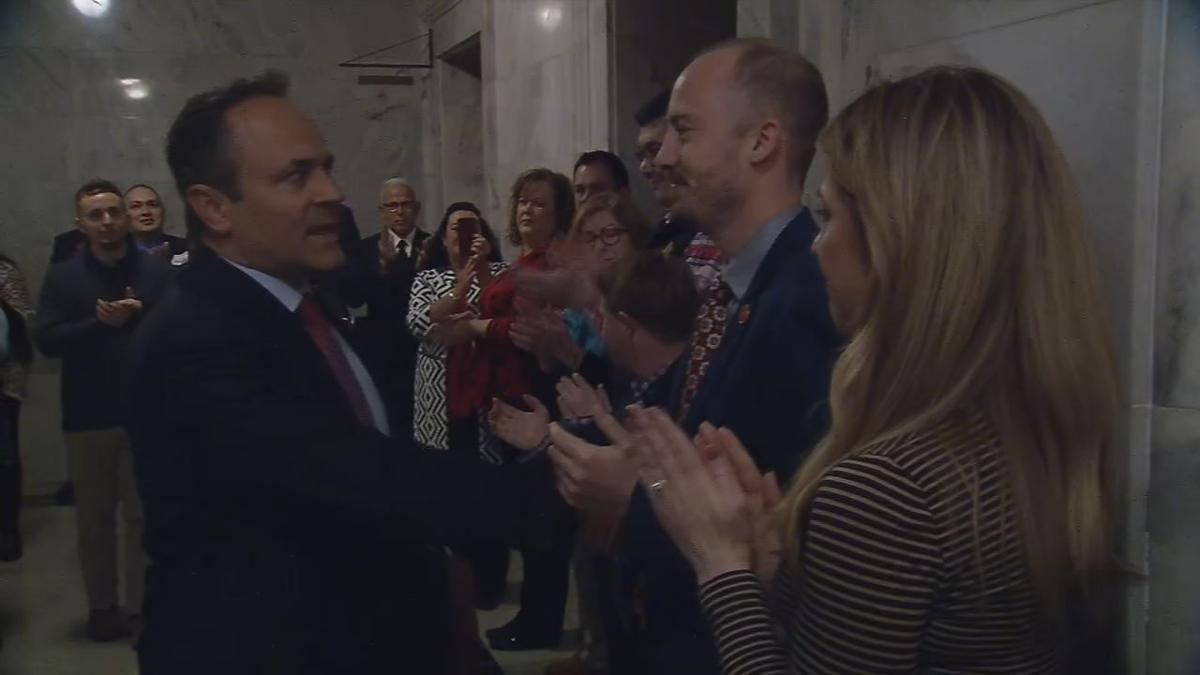 Kentucky Gov. Matt Bevin honored by staff on last day in office (Dec. 9, 2019)