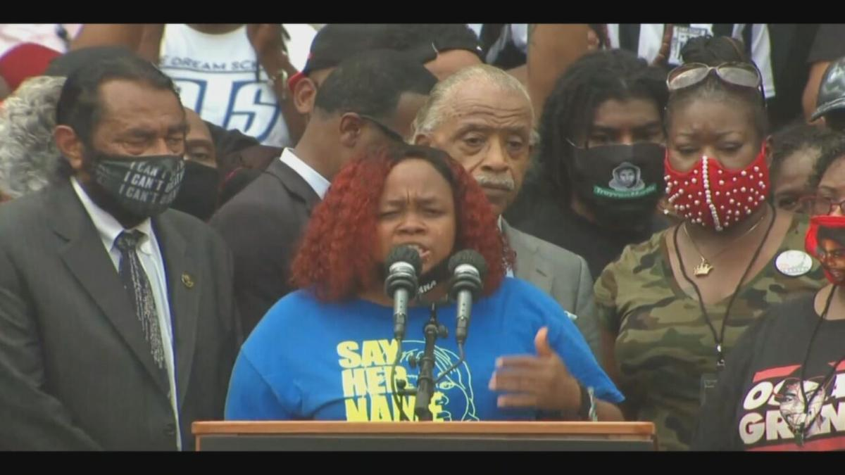 Tamika Palmer, Breonna Taylor's mother, speaks during a rally at the Lincoln Memorial
