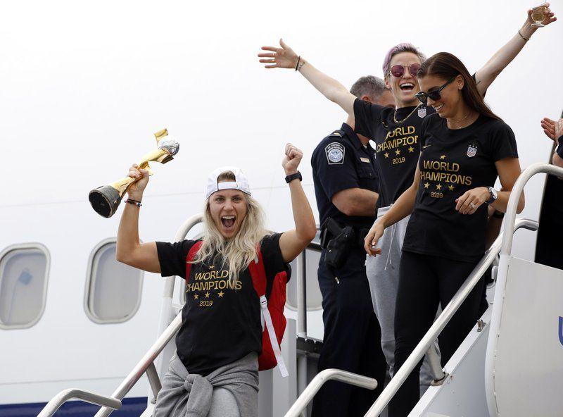 US WOMEN SOCCER WORLD CUP CHAMPS ARRIVE HOME - AP - 7-8-19 5.jpeg