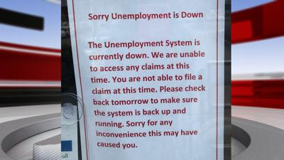 Sign declaring unemployment system is down (March 17, 2020)