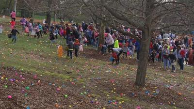 Thousands of kids hunt for Easter eggs at the Louisville Zoo's 'Eggstravaganza'