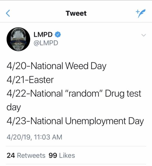 LMPD spokesman disciplined for marijuana tweet on department