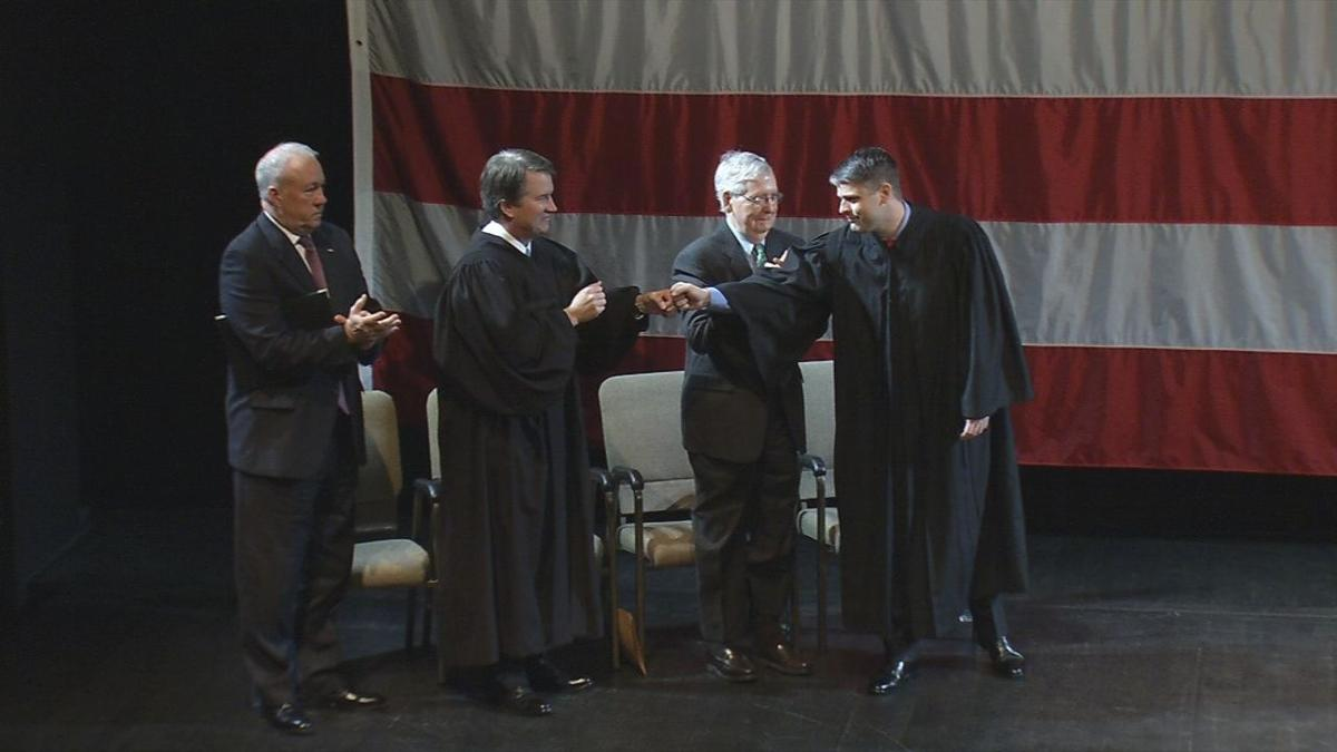Mitch Mcconnell Brett Kavanaugh Attend Federal Judge S Swearing In Ceremony In Louisville News Wdrb Com