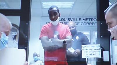 Jamarcus Glover in arraignment court on Aug. 28, 2020