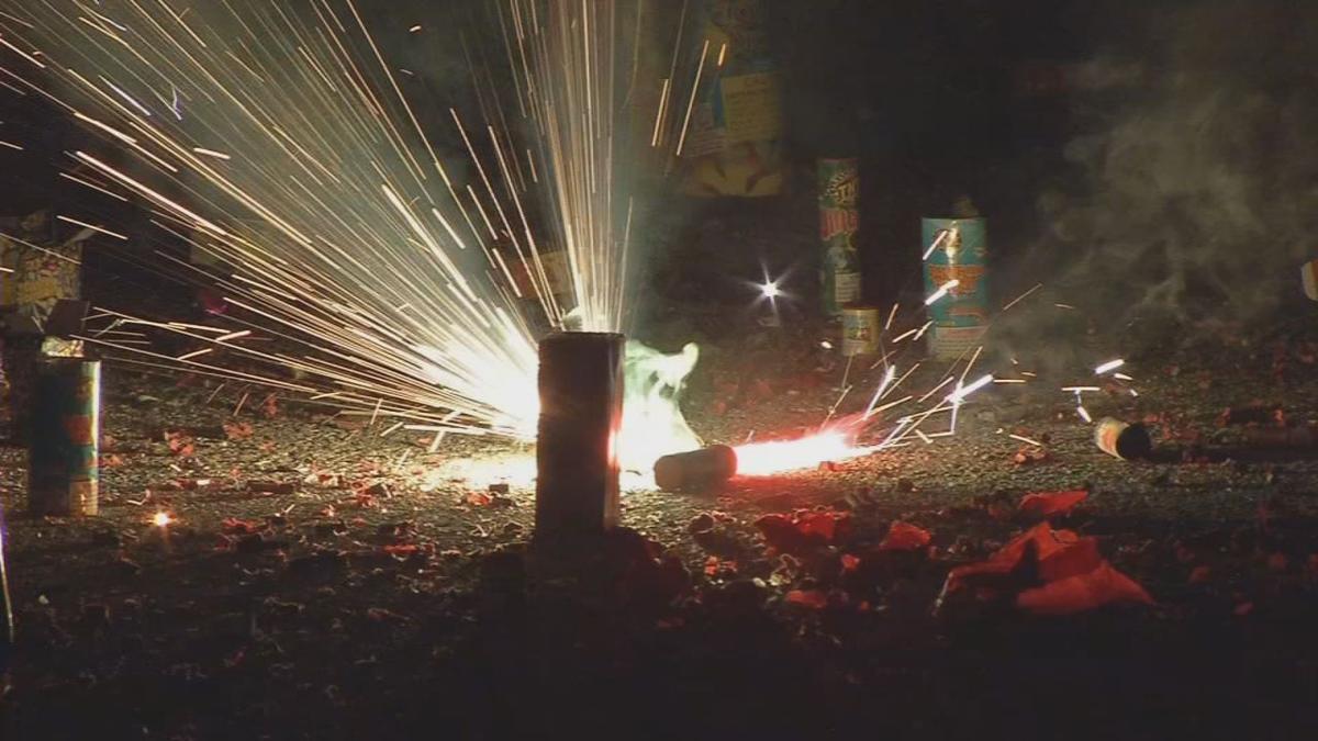 Fireworks on street
