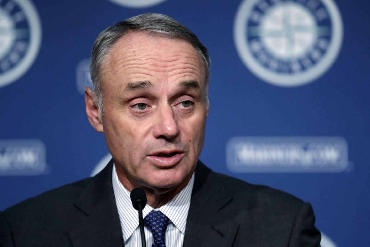 Rob Manfred addresses reporters
