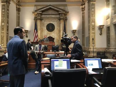 LAWRENCE SMITH INTERVIEWING CHRIS MCDANIEL IN FRANKFORT - COURTESY DAMON THAYER ON TWITTER 4-1-2020.jpg