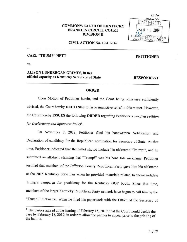 Carl Nett Sec. of State ballot ruling PDF