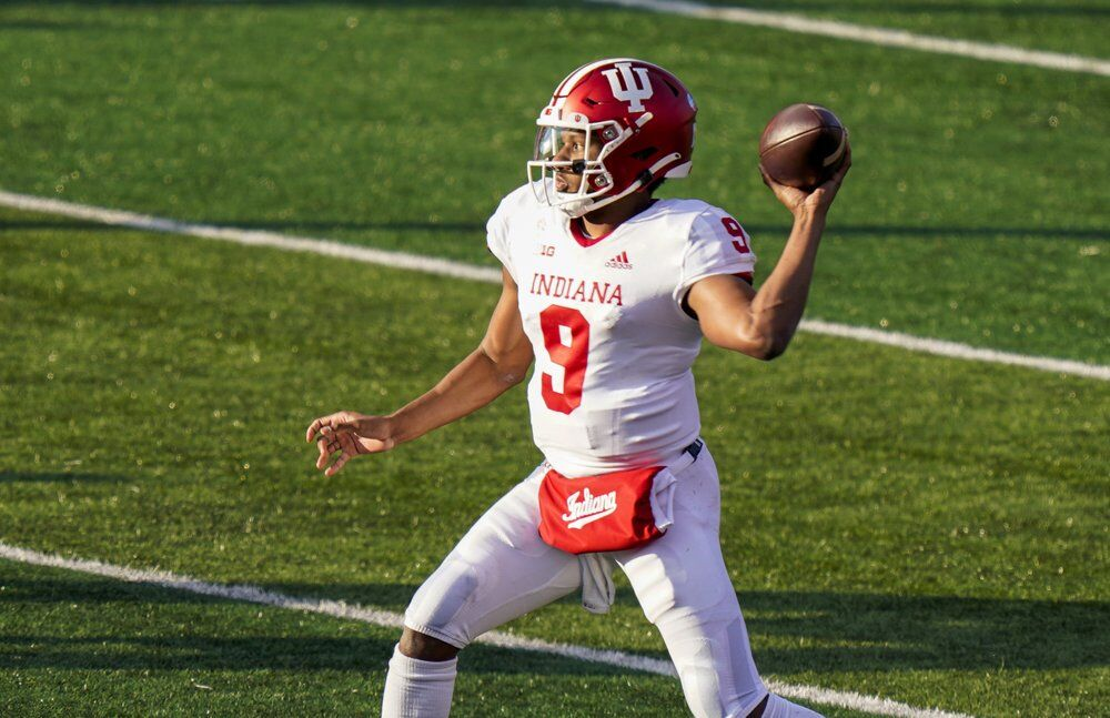 Indiana quarterback Michael Penix Jr. throws a pass during the second quarter of the team's NCAA college football game against Rutgers