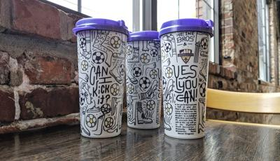 Coffee mugs created by Louisville City FC and Heine Brothers' Coffee to fund soccer for refugee kids