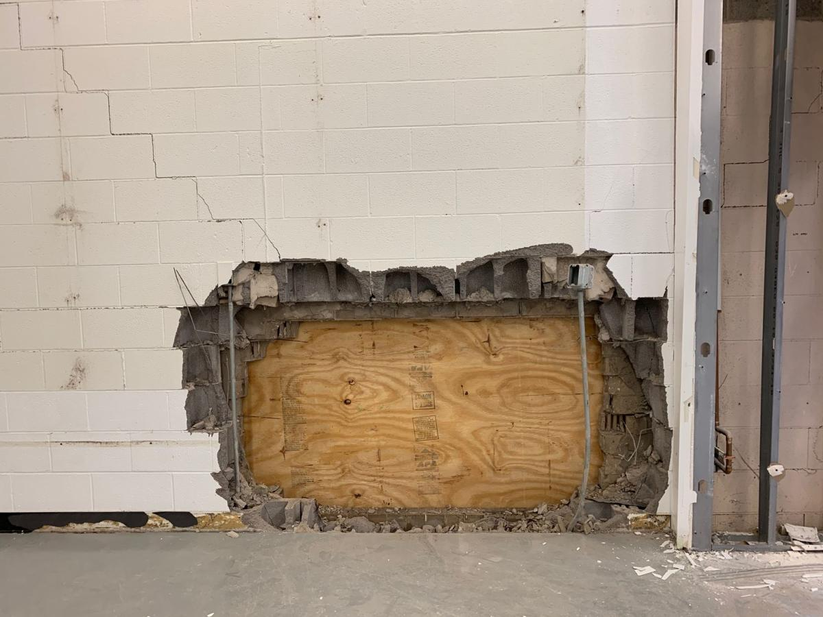 Interior of Scottsburg High Tech High School building hit by alleged DUI driver 4-28-19