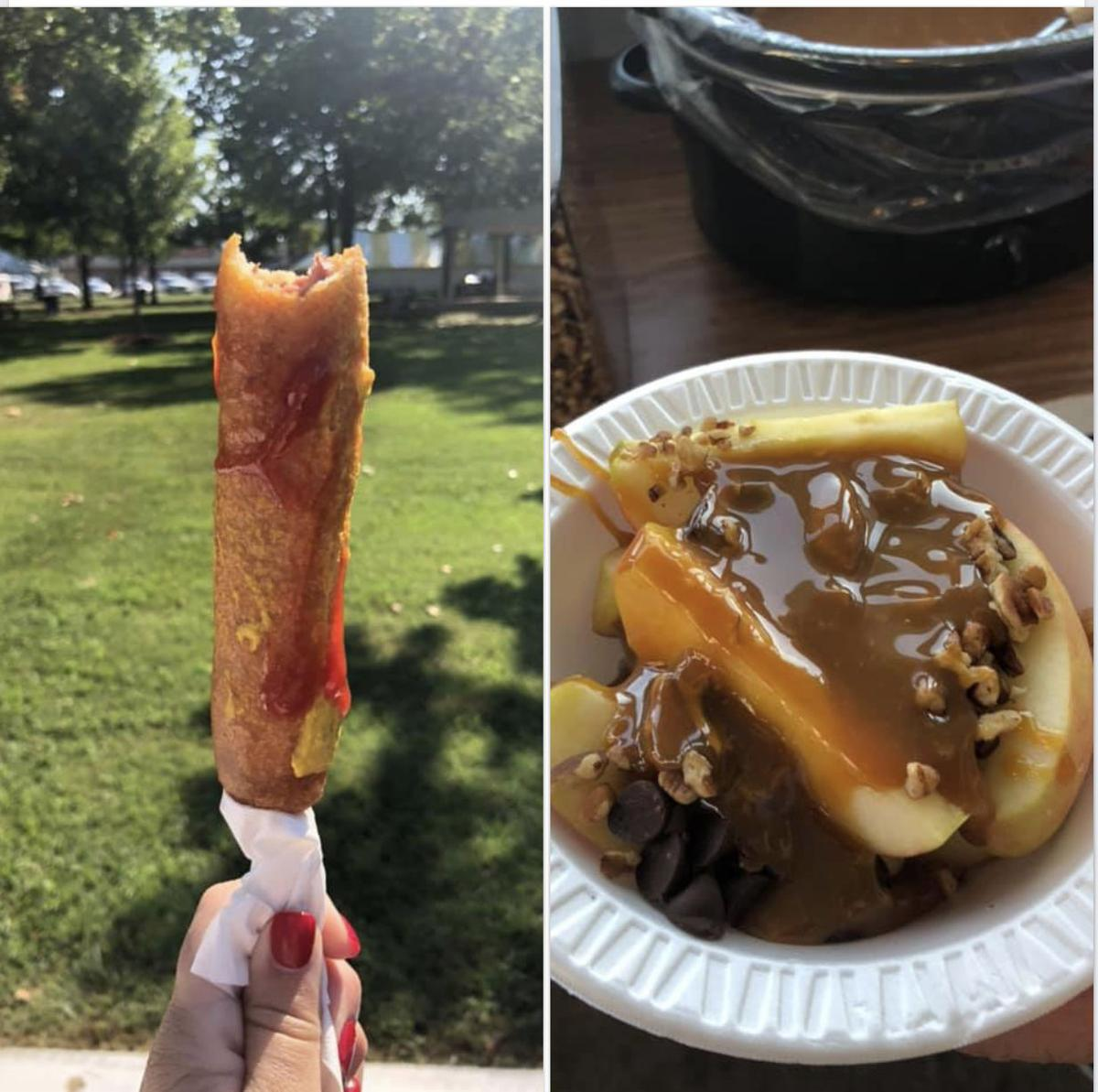 - Smoked pork sandwich, corndogs and loaded caramel apples at 2019 Apple Festival