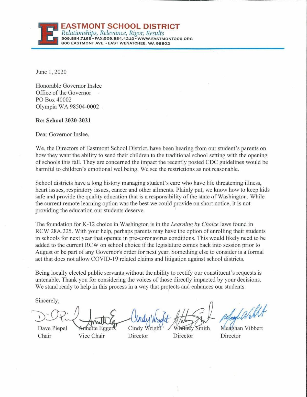Inslee Letter from School Board 2020-21