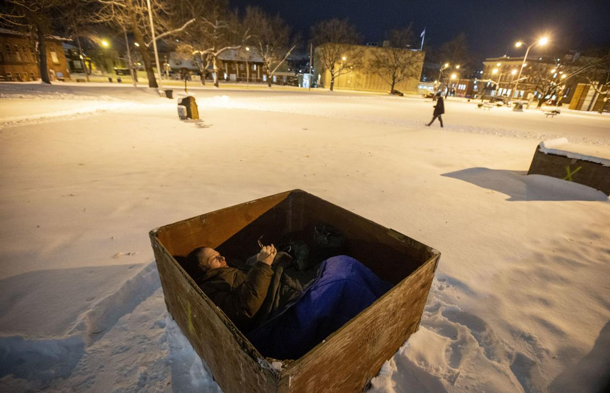 He had a mental health crisis. Now he sleeps in a box in Memorial Park.