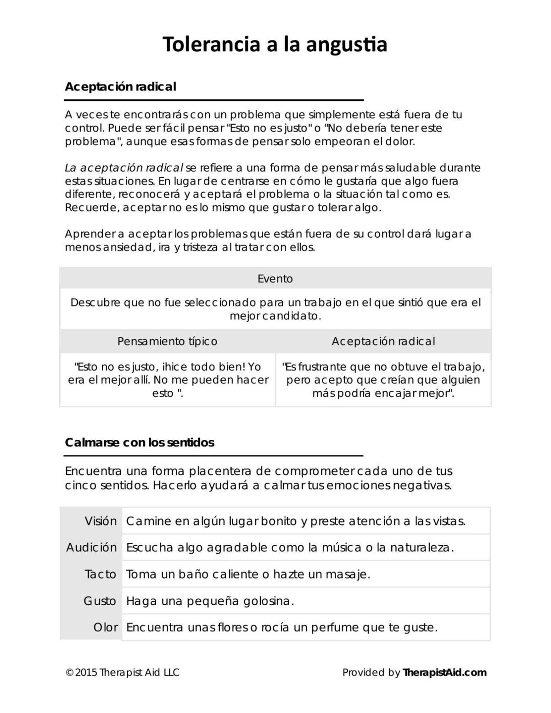 Distress tolerance worksheet in Spanish