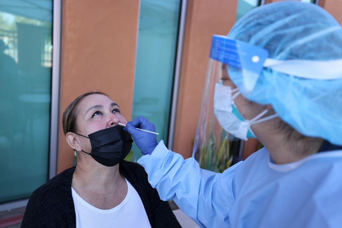 Alma Perez, 55, is tested for the coronavirus disease (COVID-19), in East Los Angeles