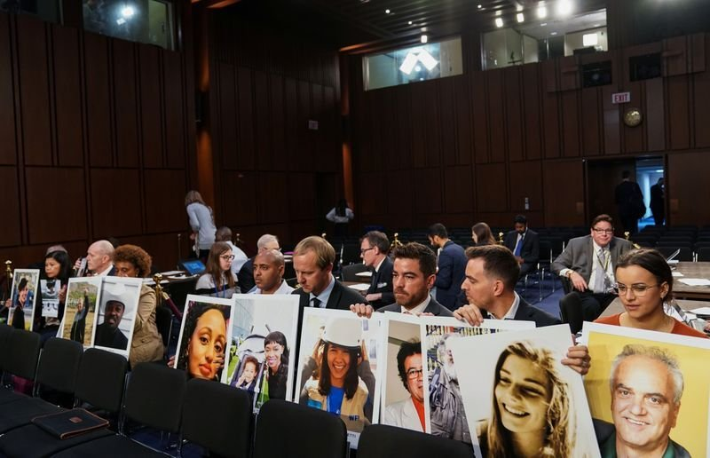 Family members attend as Boeing's Muilenburg testifies before Senate Commerce, Science and Transportation hearing on grounded 737 MAX on Capitol Hill in Washington