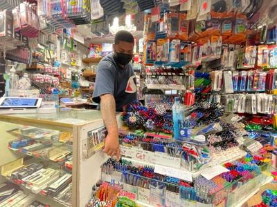 School supplies on display at Stationery and Toy World in New York City
