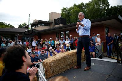 2020 Democratic U.S. presidential candidate and Washington Governor Jay Inslee speaks at the Iowa State Fair in Des Moines
