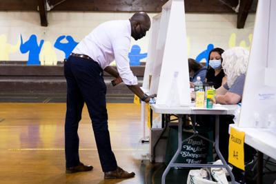 Voters cast their ballot in the Democratic primary in Philadelphia
