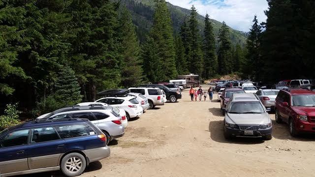 Cars parked at Stuart Lake